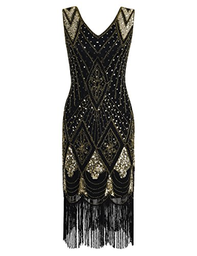 PrettyGuide Women 1920s 1920s Gatsby Cocktail Sequin Art Deco Flapper Dress M Gold