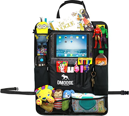 Car Backseat Organizer with Tablet Holder for Kids and Toddlers by DMoose 24-Inch-by-19-Inch (Large) – Insulated Thermal Pockets, Strong Buckles - Use as Seat Back Protector, Kick Mat, Car - Manufacturers Sunglass Best