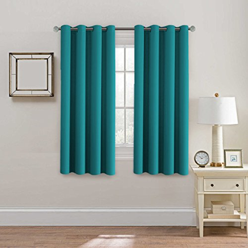 teal bedroom curtains. H Versailtex Blackout Curtains  Drapes Thermal Insulated Small Curtain for Bedroom 52 inch Wide by 63 Long Grommet Top Solid in Turquoise Blue Set of Teal Panels Amazon com