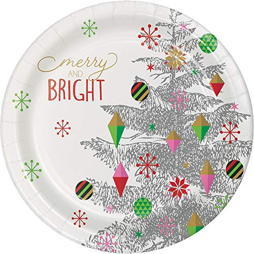 Creative Converting 332081case Bright Christmas Tree Paper Plates, One Size, Multicolor -