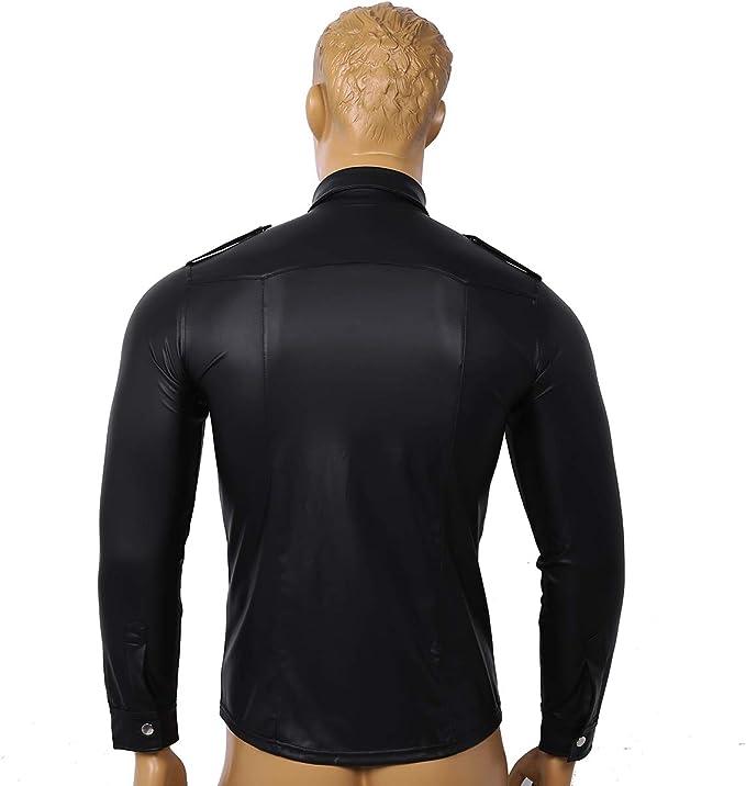 Agoky Camisa de Charol Wet Look para Hombre Negra Manga Larga Top de Cuero Slim Fit Cuello Solapa Shirts con Botones Traje Disco Fiesta Clubwear: Amazon.es: Ropa y accesorios