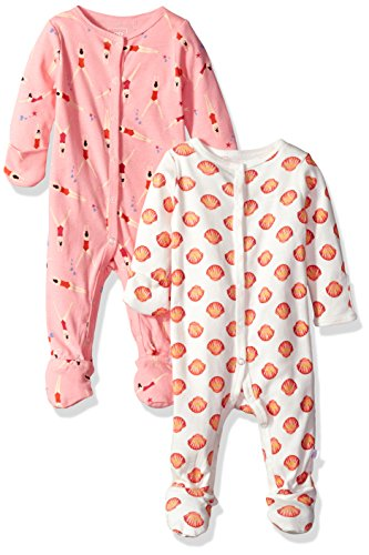 (Rosie Pope Baby Girls' 2 Pack Coveralls, Swimmers/Seashells, 0-3 Months)