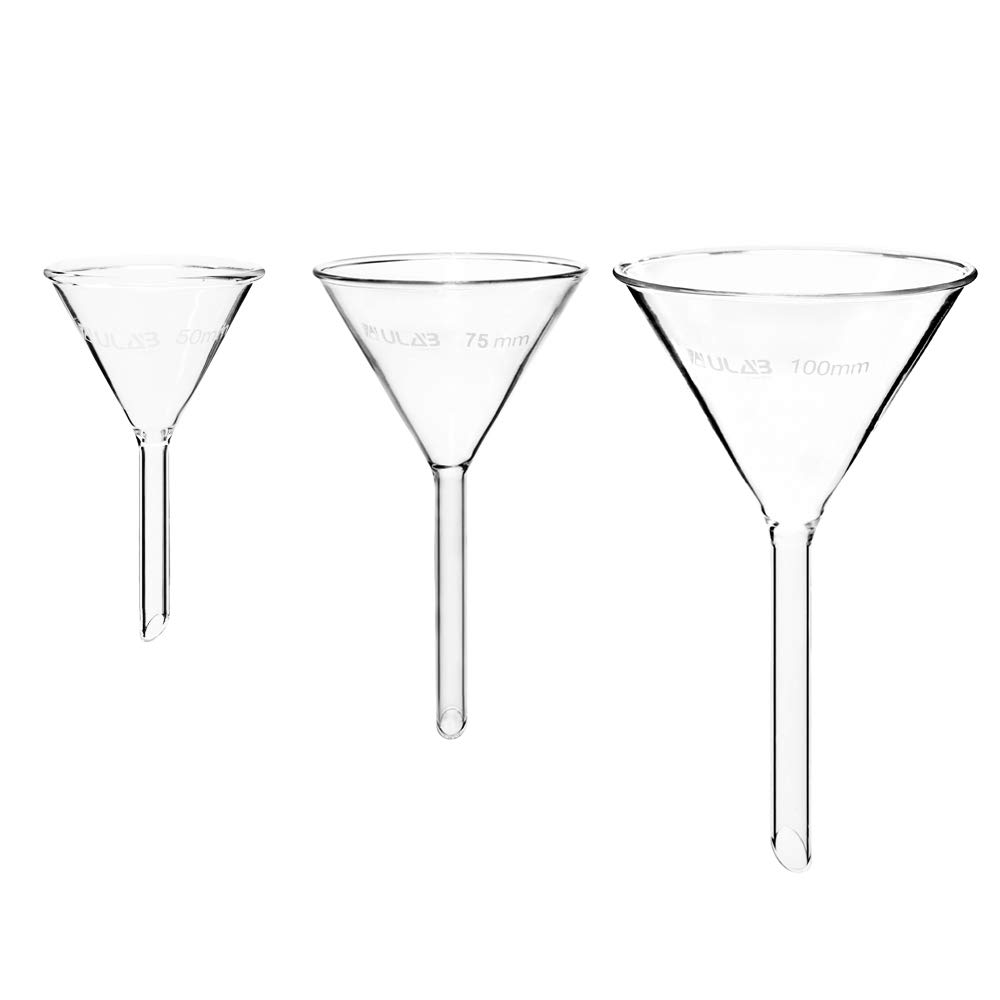 Short stem ULAB Scientific Glass Funnel Set 60/° Angle 1 of Each Size(50mm 75mm 100mm)with Approx UGF1009