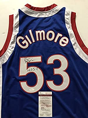 "Autographed/Signed Artis Gilmore ""HOF 11"" Kentucky Colonels Blue Basketball Jersey JSA COA"