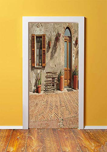 Tuscan 3D Door Sticker Wall Decals Mural Wallpaper,Medieval Facade Rustic Wooden Door Ancient Brick Wall in Small Village,DIY Art Home Decor Poster Decoration 30.3x78.18287,Tan and Light Cinnamon ()