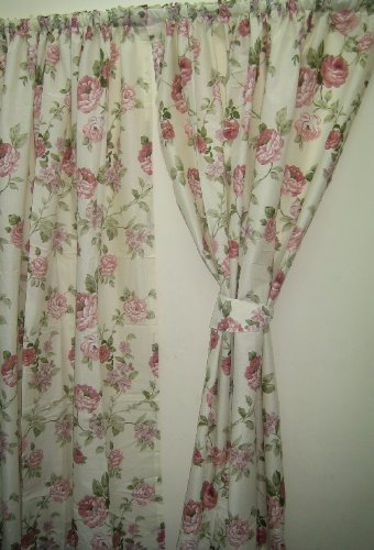 GREEN PINK CREAM 66X72 FLORAL ROSE CURTAINS 168CM WIDE X
