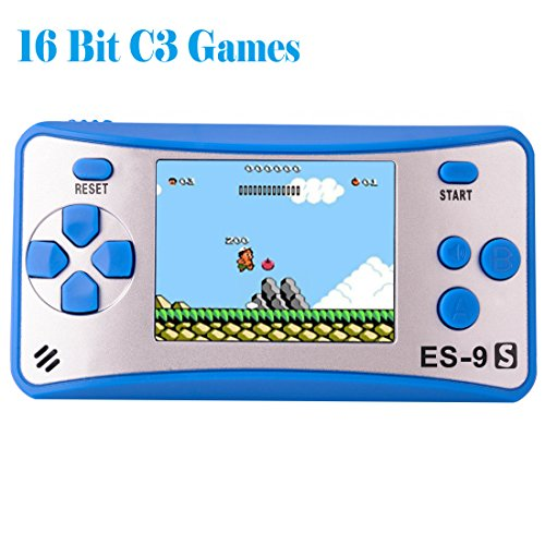 """Kids Handheld Game Console Retro Video Game Player Portable Arcade Gaming System Birthday Gift for Children Travel Recreation 2.5"""" Color LCD Screen 16 Bit 168 Classic Games(Blue Silver)"""