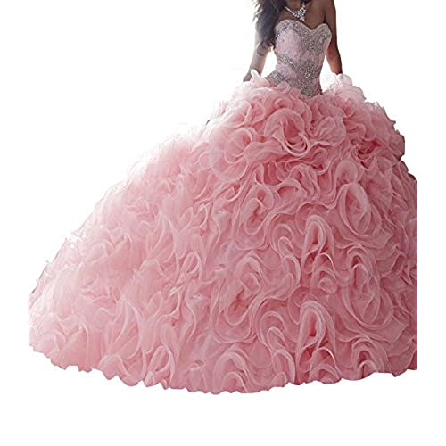 Jurong Womens Appliques High Neck Beads Long Pageant Quinceanera Dresses 6 US Pink