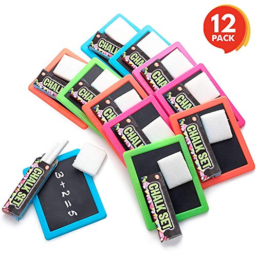 ArtCreativity Neon Chalkboard Set for Kids (12 Kits) | 1 Mini Chalk Board, 2 Chalk Sticks, and 1 Eraser Per Kit | Art Birthday Party Favors for Boys and Girls, Unique Stationery Goodie Bag Fillers]()