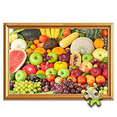 LEILEI Jigsaw Puzzle Wooden 500,1000,1500,5000 Pieces for Adults Or Kids,Fun Color Series - Fun Fruit Party 500 Piece 52.538.5cm(20.615.1 Inch): Home & Kitchen