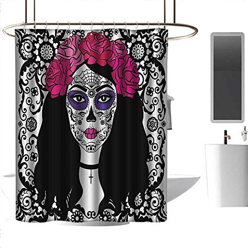 J Chief Sky Bathroom Curtain Sugar Skull,Girl with Sugar Skull Make Up Dia De Los Muertos Traditional Art Print,Black White Pink Bathroom Curtain with 12 Hooks W72 x L72 Inch -