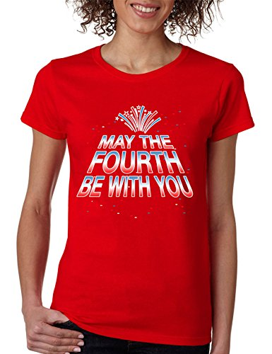Allntrends Women's T Shirt May The Fourth Be with You Fun 4th of July Tee (2XL, Red) -