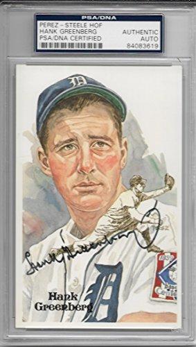 (Hank Greenberg Perez-Steele Autographed HOF Postcard # 111/10,000 PSA/DNA Cert)