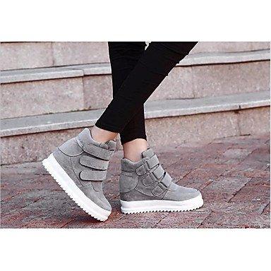 Botas de mujeres PU Confort confort informal de primavera de tul negro gris plana Gray