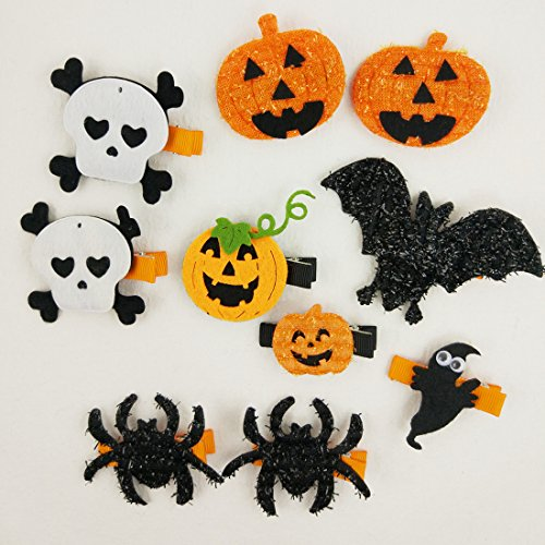 Hixixi 10pcs/Pack Halloween Cartoon Bowknot Hair Clips Accessories for Baby Girls (B#) -