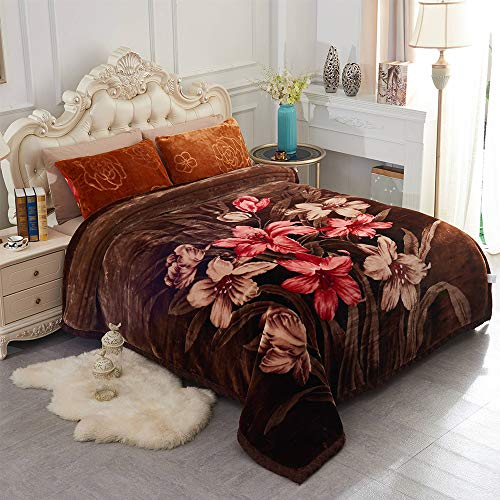 JML Heavy Korean Style Mink Fleece Blanket – 10lb 2 Ply Soft Thick Plush Bed Blanket for Autumn Winter(Rose/Brown, King)