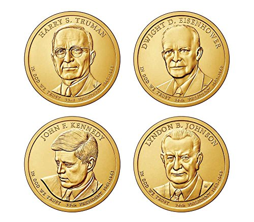 One Dollar Gold Coin - 2015 D Complete Set of all 4 Presidential Dollars Uncirculated