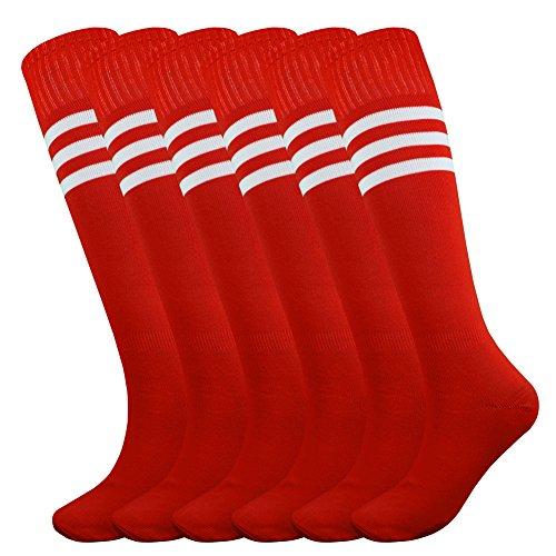 Make Varsity Soccer (Fitliva Tube Dress High School Football Uniforms Soccer Durable Flexible Sport Socks with White Stripe(6pairs-Red))