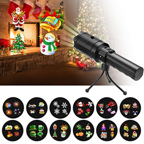 Easter Decorative Projector Lights Holiday Decor LED Lights & Portable Flashlight 2 in 1, Handheld Party Light Decoration with 12 Slides and Tripod for Birthday Christmas Kids Gift Toys]()