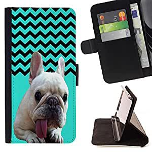 - FRENCH BULLDOG Chevron - - Premium PU Leather Wallet Case with Card Slots, Cash Compartment and Detachable Wrist Strap FOR Samsung Galaxy S5 V SM-G900 G9009 G9008V King case