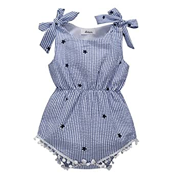 Weixinbuy Baby Girls' Bowknot Tassel Stripe Romper Clothes Bodysuit Outfits 0-6 Months Blue