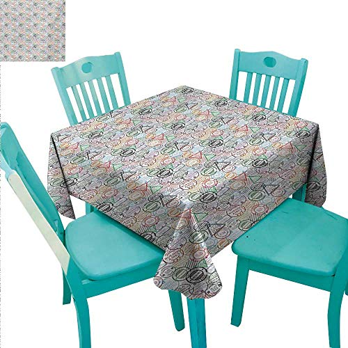 Colorful Easy Care Tablecloth Retro Postal Pattern Different Countries Traveling Tourism Elements Collection Runners,Gatsby Wedding,Glam Wedding Decor,Vintage Weddings 54