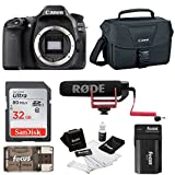 Canon EOS 80D DSLR (Body) Video Creator Kit w/ Rode VIDEOMIC GO, 32GB Card, Canon 100ES DSLR Bag + Bundle