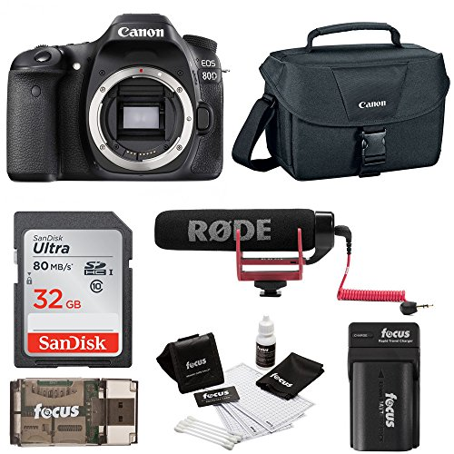 Canon EOS 80D DSLR (Body) Video Creator Kit w/ Rode VIDEOMIC GO, 32GB Card, Canon 100ES DSLR Bag + Bundle by Canon