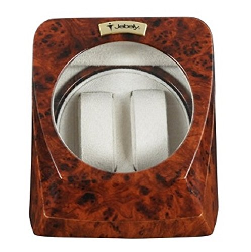 Jebely Burl Wood Finish Double Watch Winder Brown Walnut Grain Interior 4 Settings by jebely