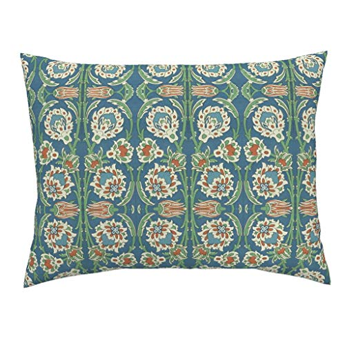 Roostery Vintage Floral Standard Knife Edge Pillow Sham Persian Ancient Arabic Garden Botanical Trellis by Hypersphere 100% Cotton - Garden Trellis Standard Sham