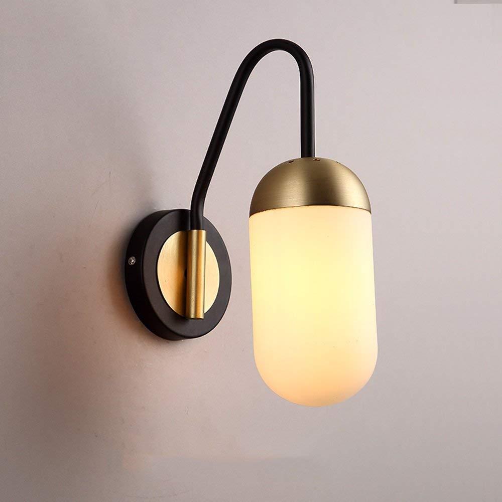 schwarz BAIJJ Moderne Einfache Nachttischlampe Mode Hotel Schlafzimmer Wohnzimmer Treppe Glas Wandleuchte A ++ (Farbe  Weiß Milch)