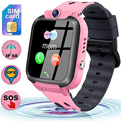 [SIM Card Included] Kids Smart Watch GPS Tracker - Kids Smart Watch Phone Waterproof with SOS Call Anti-Lost Touch Screen Voice Chat Learning Games ...