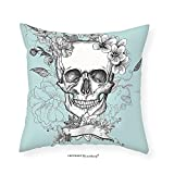 VROSELV Custom Cotton Linen Pillowcase Grunge Home Decor Skull and Flowers Day of the Dead Mexican Traditional Celebration Symbolic Art Bedroom Living Room Dorm Decor Turquoise White 26''x26''