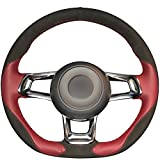 vw golf mk5 steering wheel - Loncky Genuine Leather Black Suede Auto Custom steering wheel covers for 2015 2017 Volkswagen VW Jetta GLI / 2015-2017 Volkswagen VW Golf R / 2015-2017 Volkswagen VW Golf 7 MK7 GTI