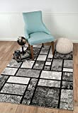 "SUMMIT BY WHITE MOUNTAIN Summit CHM/4 X 5/213 040 New Grey Geometric Area Rug Modern Abstract Many Available, 5'X7′ ACTUAL SIZE IS 4′.10 X 7′.2"" For Sale"