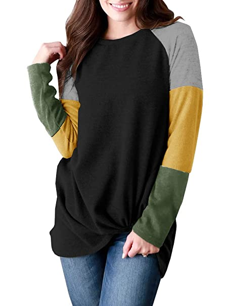 9c228ba14a Seraih Womens Colorblock Long Sleeve Raglan Shirts Twist Tie Knot Blouses  Tunic Tops at Amazon Women's Clothing store: