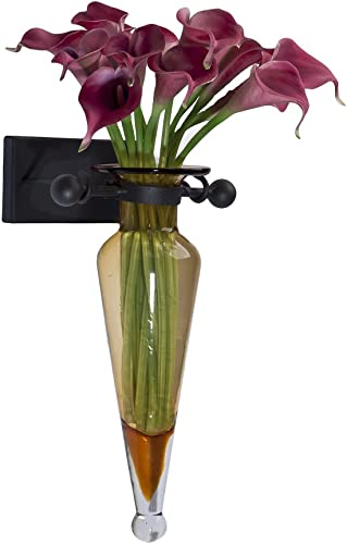 Danya B MC016 Decorative Wall Mount Amphora Glass Flower Vase on Iron Sconce with Finials Amber – Vase Wall D cor