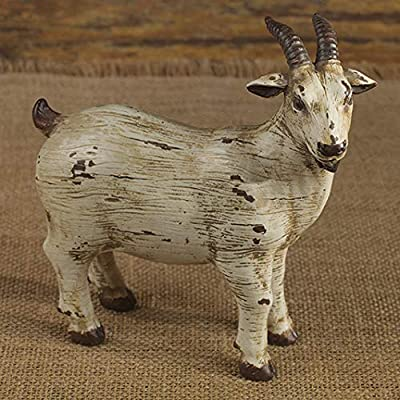 The Country House Ol' Goat Aged Cream 6 x 6 Carved Look Resin Stone Collectible Figurine
