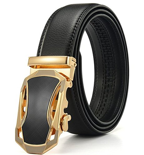 Fashion Men's Ratchet Belt Automatic Buckle Full Grain Genuine Leather (golden) - Alligator Genuine Belt