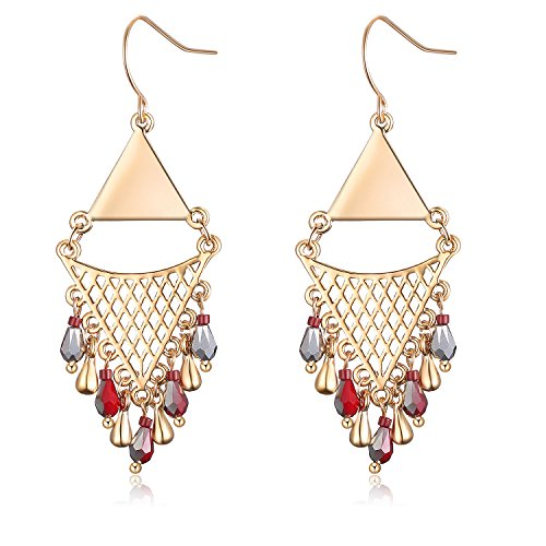 Tassel Earrings Bohemian beaded Dangle Copper Earrings for Women Girls (Gold color) ()