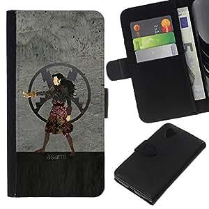 // PHONE CASE GIFT // Moda Estuche Funda de Cuero Billetera Tarjeta de crédito dinero bolsa Cubierta de proteccion Caso LG Nexus 5 D820 D821 / Asami /