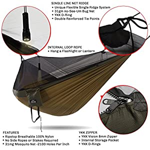 Double Hammock - Everest | Bug & Mosquito Free Camping & Outdoor Hammocks Tent Reversible Integrated BugNet YKK Zipper Ripstop Diamond Weave Nylon Carabiners & Tree Saver Straps | Khaki / Woodland