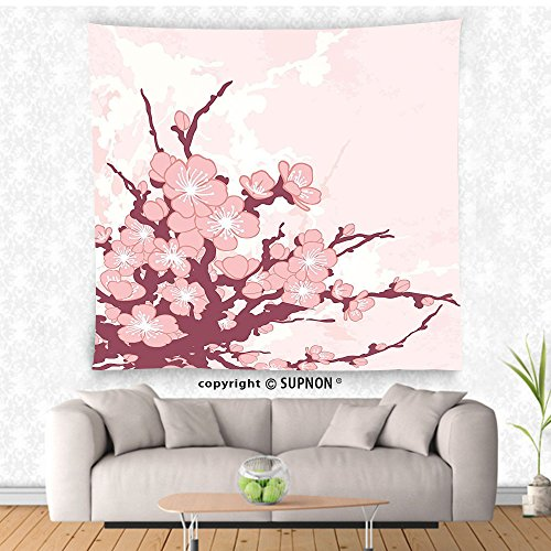 VROSELV custom tapestry Nature Tapestry Spring Cherry Blossom Flowers Floral Abstract Branch Artwork Print Wall Hanging for Bedroom Living Room DormLight Pink Maroon and - Spring York 7 New Street