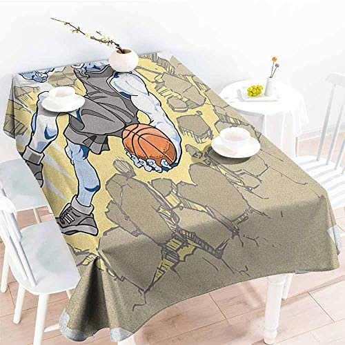 Large rectangular tablecloth,Animal Painting Style A Farmville Bighorn Sheep Animal Basketball Player Ilustration Art,Table Cover for Kitchen Dinning Tabletop Decoratio,W60x84L, Tan and Grey (Market Farmville)