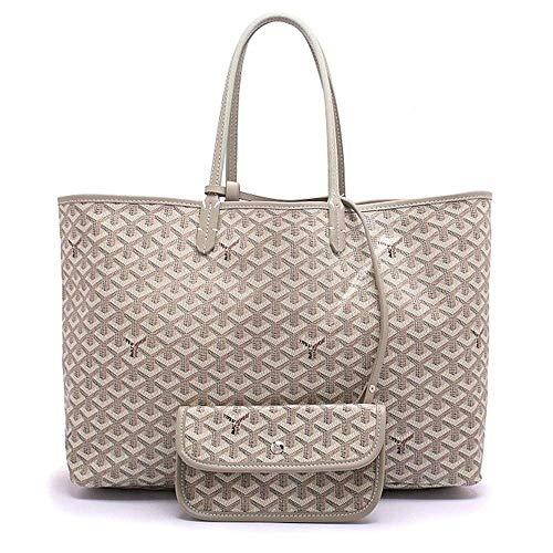 Women's Tote Shoulder Bag Fashion PU Leather Shopping Handbag with Wallet (M, Khaki)