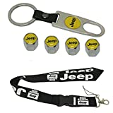 New 1pcs Jeep Keychain Lanyard Badge Holder + Combo set 4pcs Car Wheel Tire Valve Stem Air Caps Covers and One Keychain