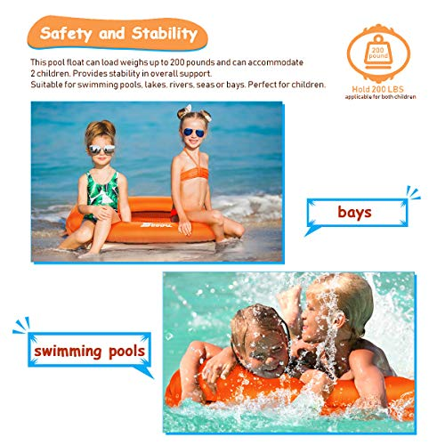 2020 Pool Floats Inflatable Floating Lounger Chair Water Hammock Raft Swimming Ring Pool Toy for Kids, Lightweight Single Layer Nylon Fabric No Pump Required, 1 Second Filling The Air