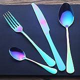Lovelyback 4PCS/Set Stainless Steel Rainbow Cutlery Set Dinnerware Set Western Food Cutlery Tableware Dinnerware Set Christmas Gift
