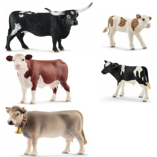 (Schleich Set of 5 Quality Cows Packaged and Ready to Give Realistic and Durable)