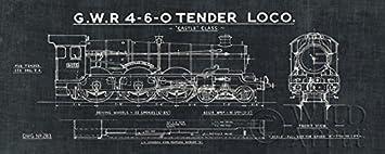 Amazon train blueprint iii in black 20x8 art print poster train blueprint iii in black 20x8 art print poster wall decor locomotive gwr 4 malvernweather Gallery